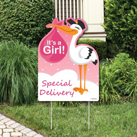 Girl Special Delivery - Baby Shower Decorations - Pink It's A Girl Stork Baby Announcement & Welcome Yard Sign (Baby Announcement Yard Sign)