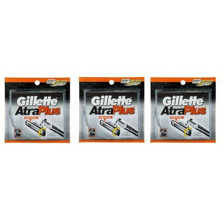 Gillette Atra Plus Refill Razor Blades 10 ct. (Pack of 3) + Schick Slim Twin ST for Sensitive