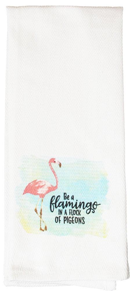 3 Pc Set Kitchen Dish Towels /& Dish Drying Mat Pink Flamingo Stand Tall Summer