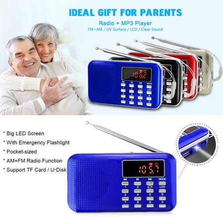 Portable Pocket Mini AM/FM Radio Receiver Music Player Outdoor Speaker World Frequency 3.5mm Earphone Jack AUX/TF/USB Disk with LED Screen Display & Emergency Flashlight](Halloween Kid Music Radio)