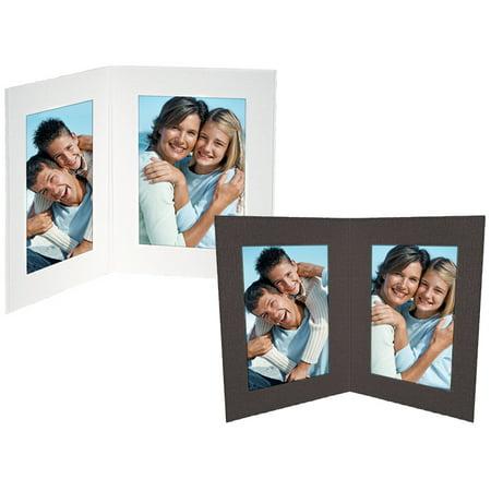 Double View Cardboard Photo Folders 5x7 Vertical White (25