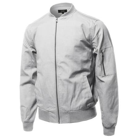 FashionOutfit Men's Casual Basic Style Zip Up Sleeve Pocket Bomber