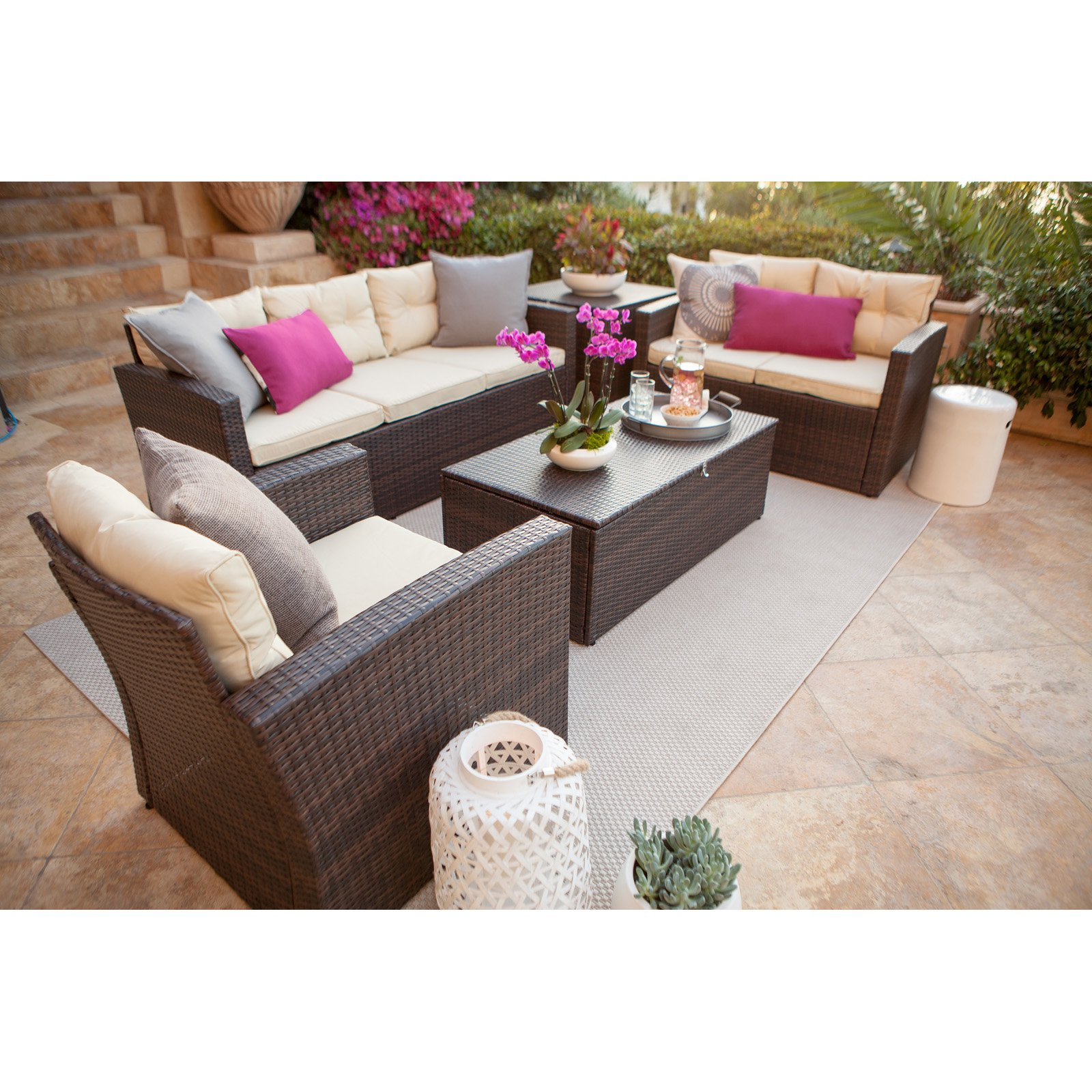 Thy-Hom Rio Wicker All-Weather 5 Piece Patio Conversation Set with Storage by The-Hom