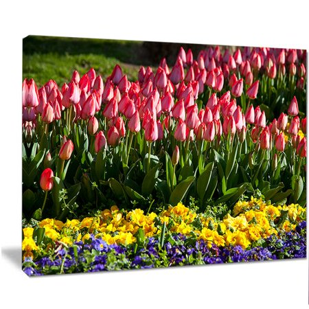 Design Art 'Red Tulips with Yellow Purple Flowers' Photographic Print on Wrapped (Purple Red Art Print)