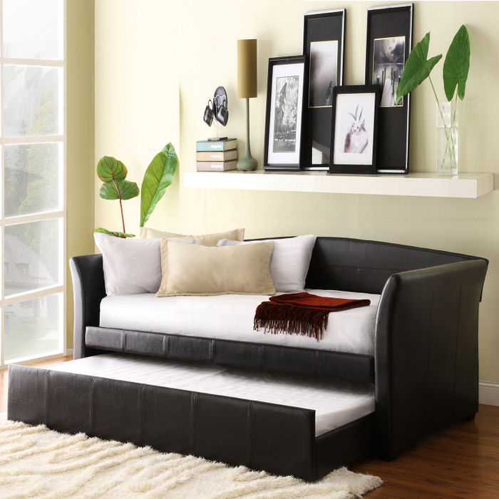 Home Creek Vinyl Day Bed with Trundle Bed by Home Creek
