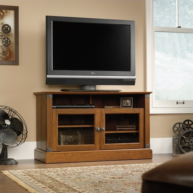 Sauder Carson Forge Panel TV Stand in Washington Cherry