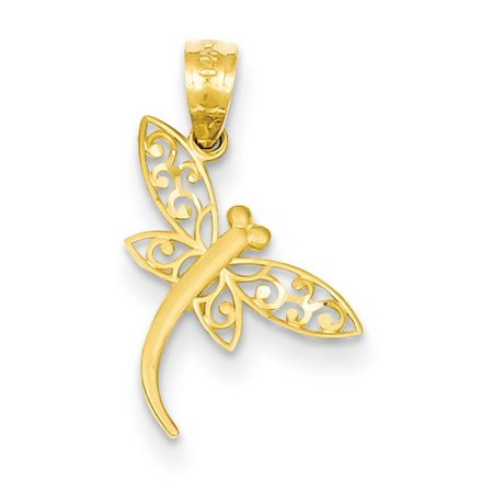 14k Yellow Gold Satin D/C Dragonfly Pendant 14k Gold Dragonfly Charm