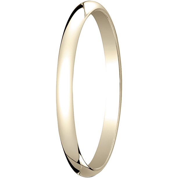 Womens 18K Yellow Gold, 2.0mm Traditional Dome Oval Wedding Band