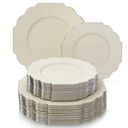 PARTY DISPOSABLE 40 PC DINNERWARE SET | 20 Dinner Plates | 20 Salad/Dessert Plates | Heavy Duty Disposable Plastic Dishes | Elegant Fine China Look | for Upscale Wedding and Dining (Baroque – Ivory) (Heavy Duty Plastic Plates)