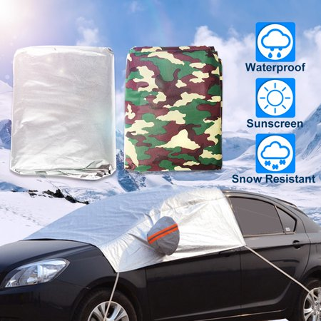 Universal Auto Car Windscreen Half Cover Snow Waterproof Breathable Dust Prevention Outdoor Indoor Sun Shield UV Protection