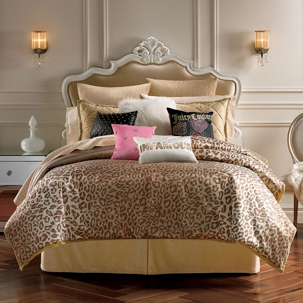 Juicy Couture Cheetah Animal Instinct Full Queen Comforter Set with Shams 3 Pc