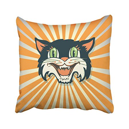 WinHome Decorative Pillowcases Cool Retro Vintage Halloween Cat Throw Pillow Covers Cases Cushion Cover Case Sofa 18x18 Inches Two Side - Cool Halloween Cover Photos