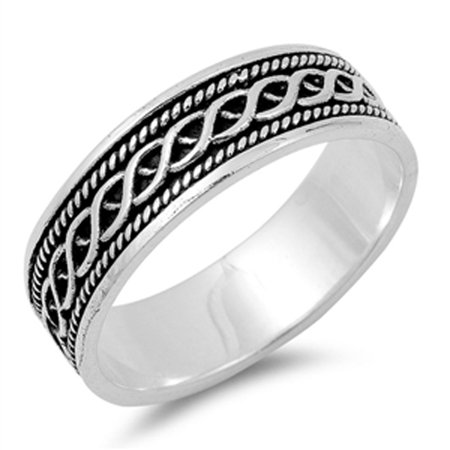 Women's Celtic Knot Bali Rope Design Ring .925 Sterling Silver Band Size (Celtic Knot Design Ring)