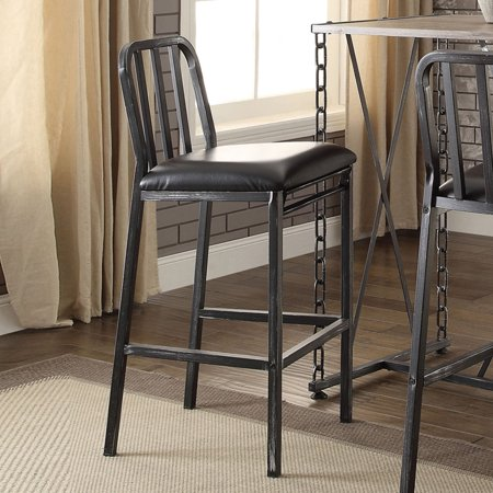 ACME Jodie Bar Chair, Black PU and Antique Black, Set of 2 ()