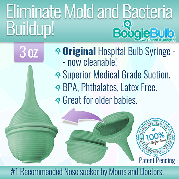 BoogieBulb Hospital Medical Grade Baby Nasal Aspirator, Cleanable and Reusable Bulb Syringe, Snot Sucker, for baby stuffy nose. Natural baby care products. Superior Suction 3 oz Great for Toddlers!