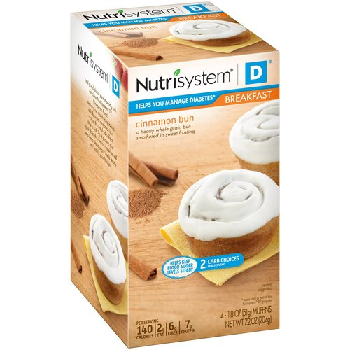 Nutrisystem D Cinnamon Buns, 1.8 oz, 4 count, (Pack of 4)