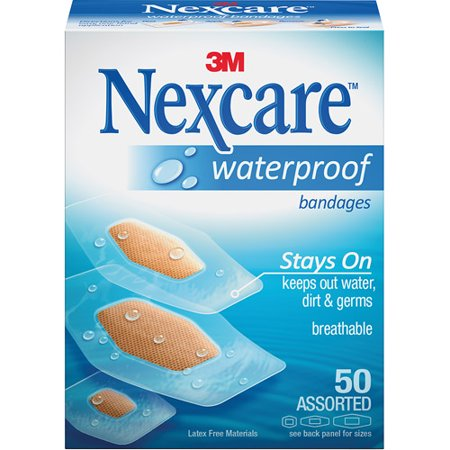 Nexcare Waterproof Bandages, Protects Cuts, Scrapes, Abrasions, and Blisters, Assorted Sizes, Clear, 50 Ct Package