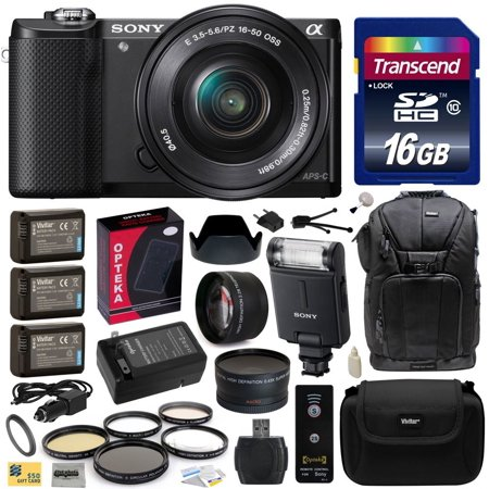 Sony Alpha A5000 20.1 MP Interchangeable Mirrorless Lens Camera with 16-50mm OSS Lens ILCE5000L with Sony HVL-F20M External Flash + 16GB Memory Card + x3 NP-FW50 Battery + Charger + $50 Gift Card