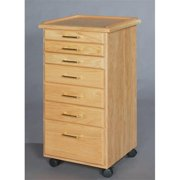 SMI TB700T Oak Taboret, 7-Drawer, Classic, Natural Oak Finish