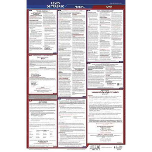 JJ KELLER 400-IA Labor Law Poster,Fed/STA,IA,SP,40Wx26inH G0038276