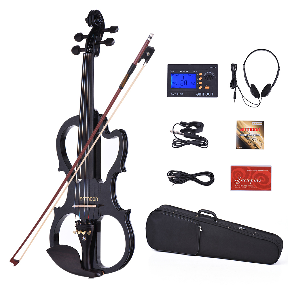 ammoon VE-201 Full Size 4 4 Solid Wood Silent Electric Violin Fiddle Maple Body Ebony... by