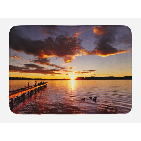 Coastal Bath (Coastal Bath Mat, Lake Rotorua Dramatic Sunrise North Island New Zealand Morning Scenic Scenery, Non-Slip Plush Mat Bathroom Kitchen Laundry Room Decor, 29.5 X 17.5 Inches, Yellow Red Black, Ambesonne)