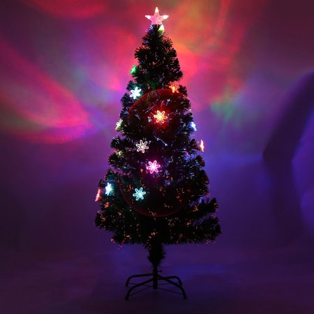 Snowflakes Decorative Indoor Outdoor Led Color Changing Artificial Fiber Optic Lights Tall Christmas Tree Us Plug