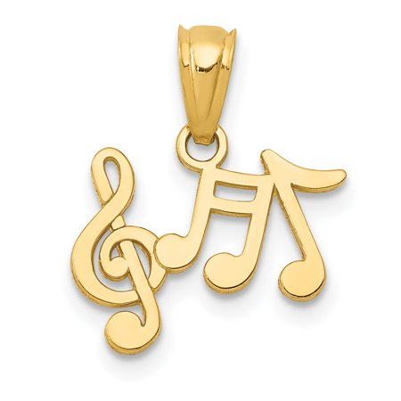 14k Yellow Gold Music Notes Pendant Charm Necklace Musical Gifts For Women For Her