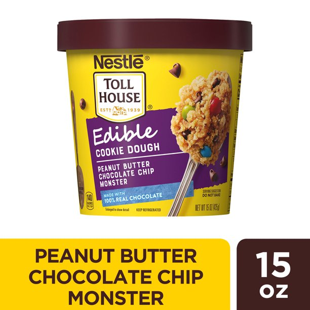 Nestle Toll House Peanut Butter Chocolate Chip Monster Edible Cookie Dough 15 Oz Walmart Com Walmart Com
