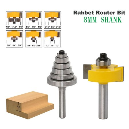 8MM Shank Rabbet Router Bit with Bearings Set Woodworking Milling Tenon Cutter - image 3 de 7