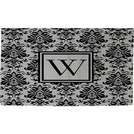thumbprintz damask monogram rug black and grey