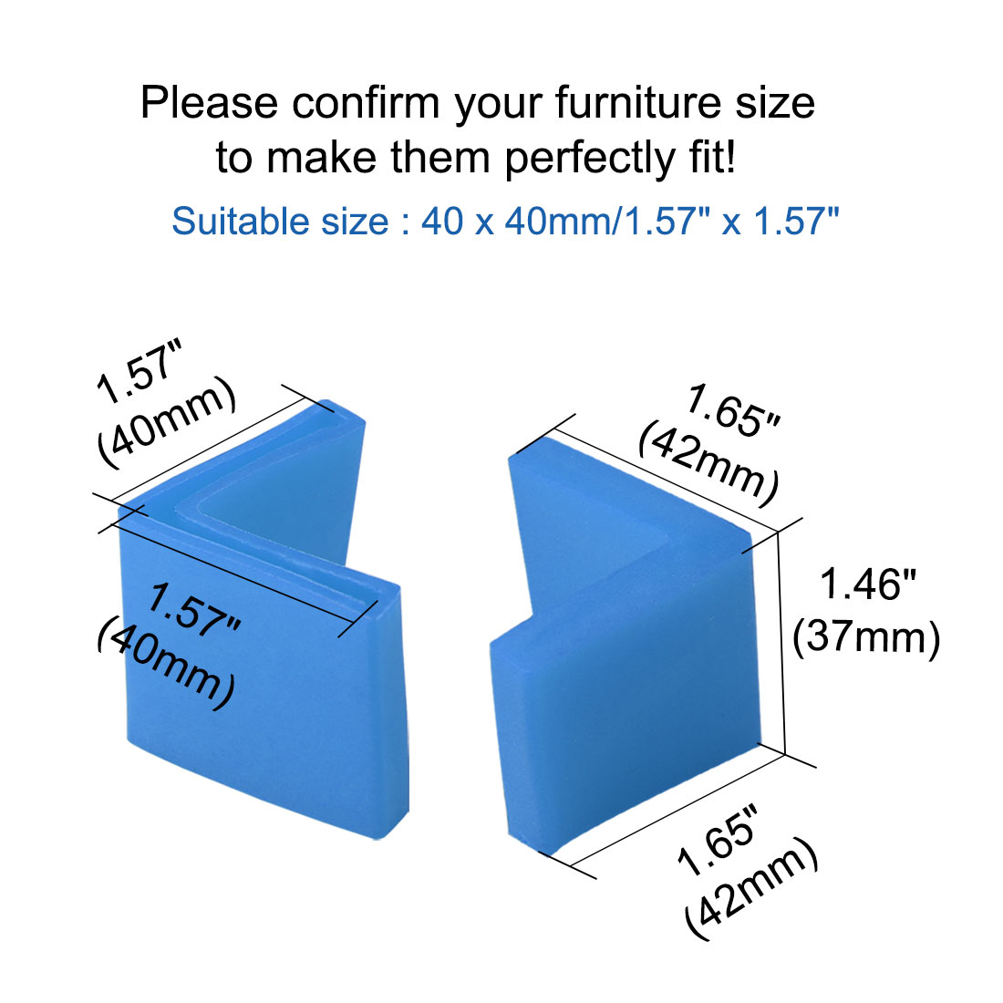40mm x 40mm Angle Iron Foot Pad L Shaped PVC Leg Cap Floor Protector Blue 12 Pcs - image 5 de 7