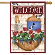 "Welcome Planter Spring House Flag Floral Basket 28"" x 40"""