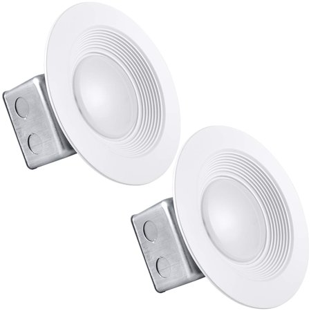 2-Pack 5/6 Inch Junction Box LED Retrofit Downlight, Luxrite, 15W (100W Equivalent), 2700K Warm White, 1000 Lumens, Dimmable, Wet Rated, 120-277V, Jbox LED Light, Energy