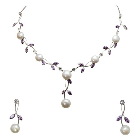 Faship Gorgeous CZ Crystal Freshwater Pearls Floral Necklace Earrings Set - (Gorgeous Pearl Set)