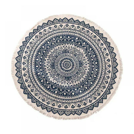 National Wind Home Living Room Coffee Table Printed Floor Mats Bedroom Study Round Cotton Carpet Bohemian Printing Rug