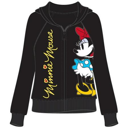 Adult Junior Minnie Mouse Signature Zip Up Hoodie Black