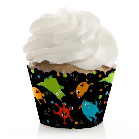 Monster Bash - Little Monster Birthday Party or Baby Shower Cupcake Wrappers - Set of 12