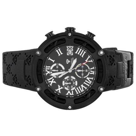 Aqua Master Black Watch Stainless Steel Watch Black Finish Rubber Band Quartz Movement Brand New