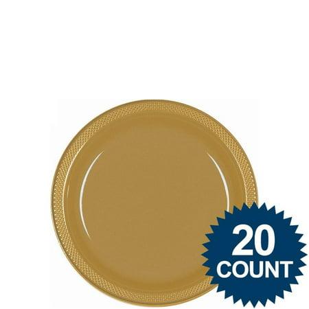 Gold Octagon Plastic Plates - Gold 7