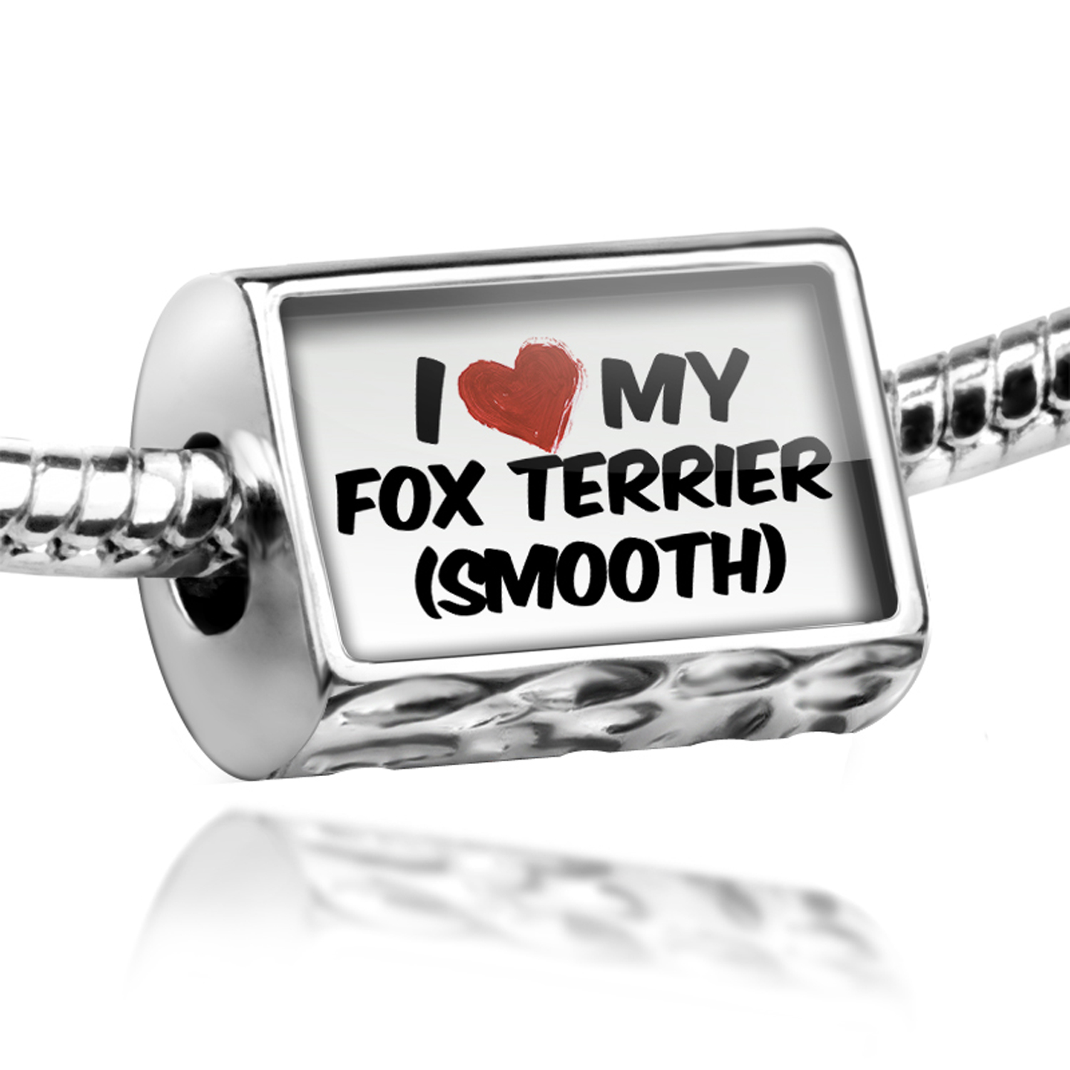 Bead I Love my Fox Terrier (Smooth) Dog from England Charm Fits All European Bracelets