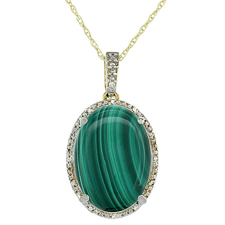 10K Yellow Gold Natural Malachite Pendant Oval 18x13 mm & Diamond Accents