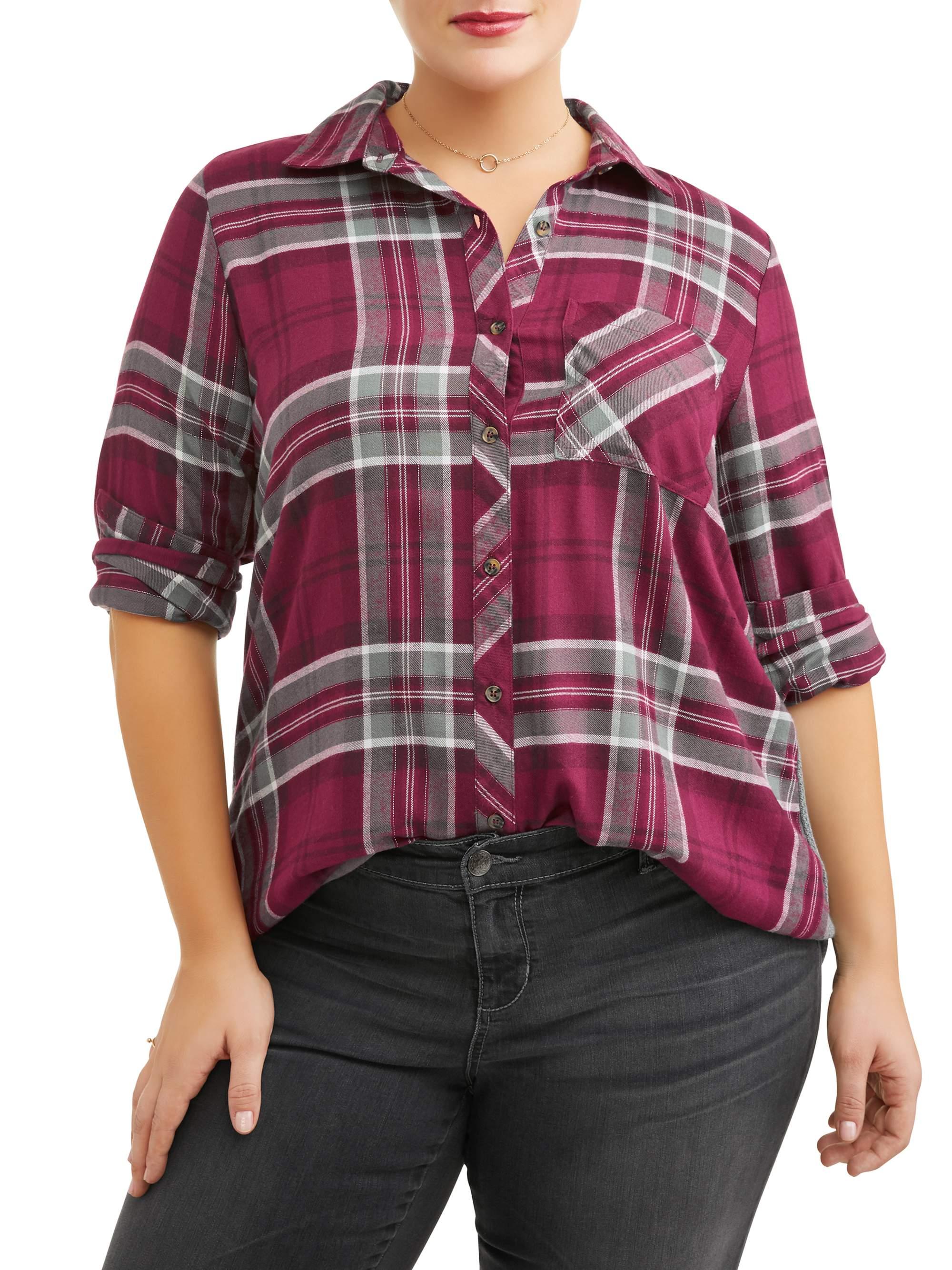 Women's Plus Size Plaid Mixed Media Tunic Shirt
