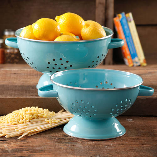 The Pioneer Woman Flea Market 2-Pack Metal Colander, 3-Quart and 5-Quart