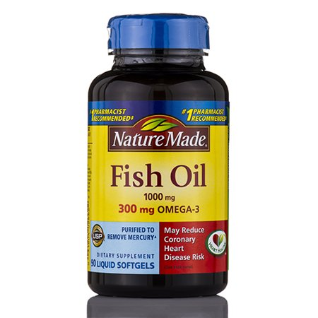 Fish oil 1000 mg omega 3 300 mg 90 softgels by nature for Liquid fish oil walmart