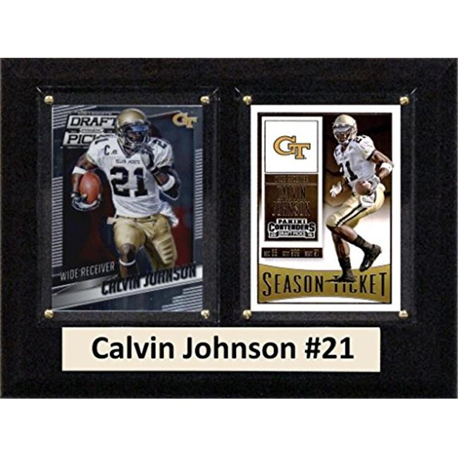 """C & I Collectables NCAA 6"""" x 8"""" Calvin Johnson Georgia Tech Yellow Jackets 2 Card Plaque"""