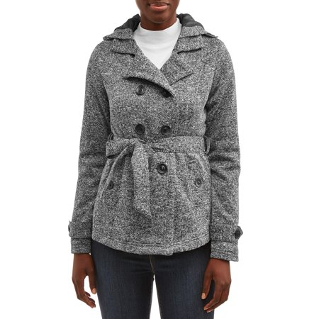 Yoki Women's Hooded Fleece Peacoat Black Womens Peacoat