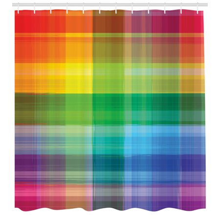 Vintage Rainbow Shower Curtain Retro Plaid Design Checkered Squares