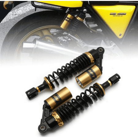 Dirt Bike Rear Shocks (GZYF 2PCS 340mm Air Rear Shock Absorbers Universal For Honda Suzuki Yamaha Kawasaki ATV Go Kart Quad Dirt Sport Bikes Black & Gold)