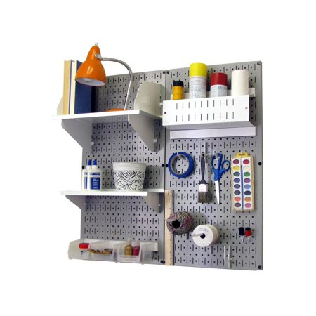Wall Control Pegboard Hobby Craft Pegboard Organizer Storage Kit with Gray Pegboard and White Accessories (Pegboard Storage)